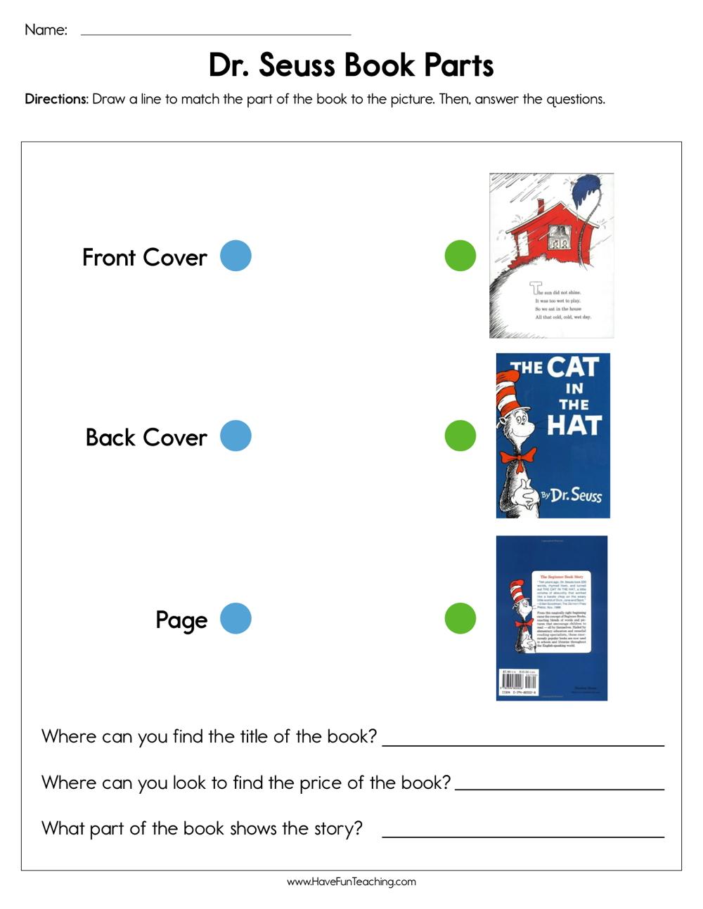 medium resolution of Dr. Seuss Book Parts Worksheet • Have Fun Teaching
