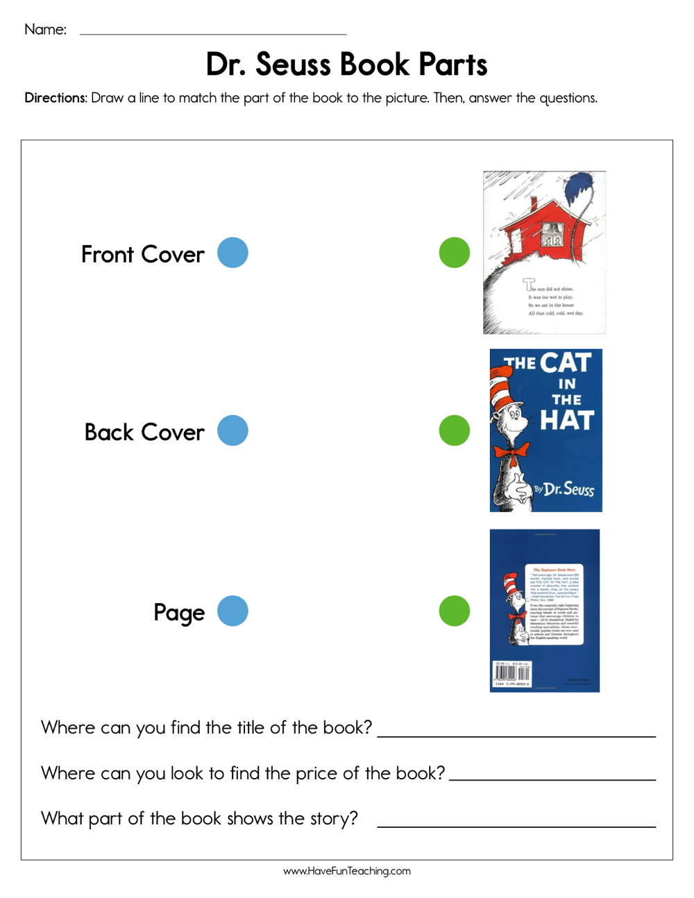 hight resolution of Dr. Seuss Book Parts Worksheet • Have Fun Teaching