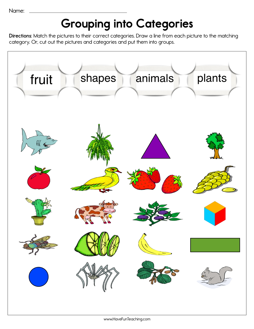 medium resolution of Grouping into Categories Worksheet • Have Fun Teaching