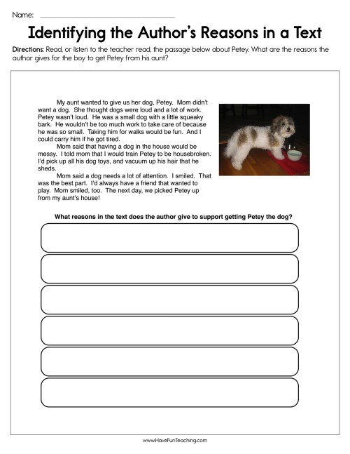 small resolution of Identifying the Author's Reasons in a Text Worksheet • Have Fun Teaching