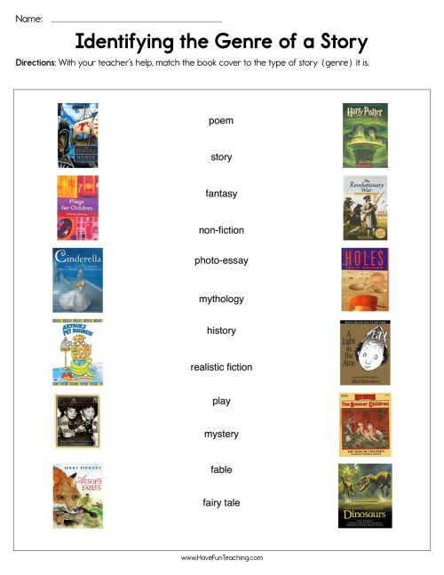 small resolution of Identifying the Genre of a Story Worksheet • Have Fun Teaching