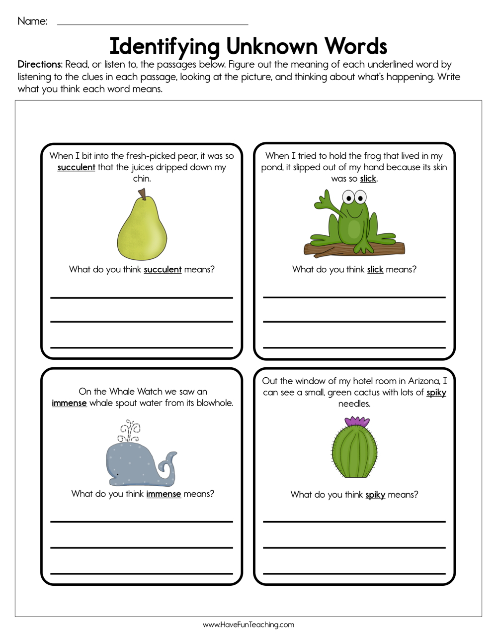 medium resolution of Identifying Unknown Words Worksheet • Have Fun Teaching