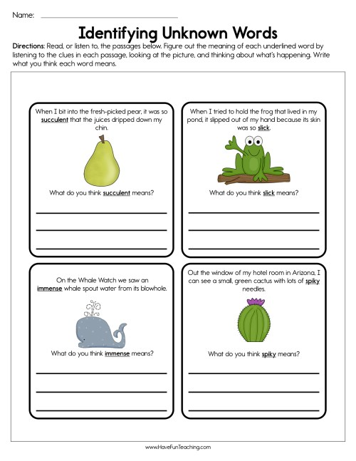 small resolution of Identifying Unknown Words Worksheet • Have Fun Teaching