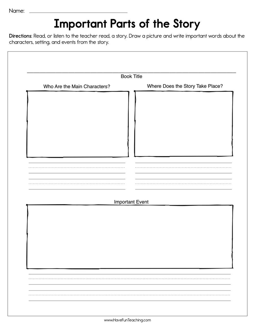 medium resolution of Important Parts of the Story Worksheet • Have Fun Teaching