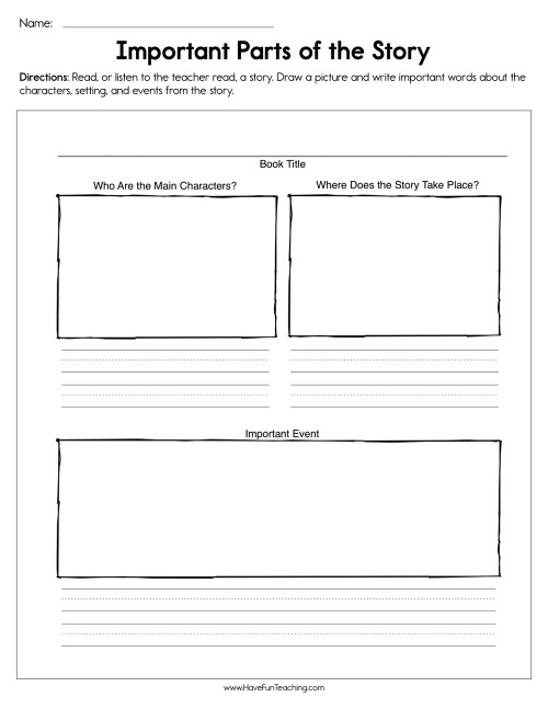 small resolution of Important Parts of the Story Worksheet • Have Fun Teaching