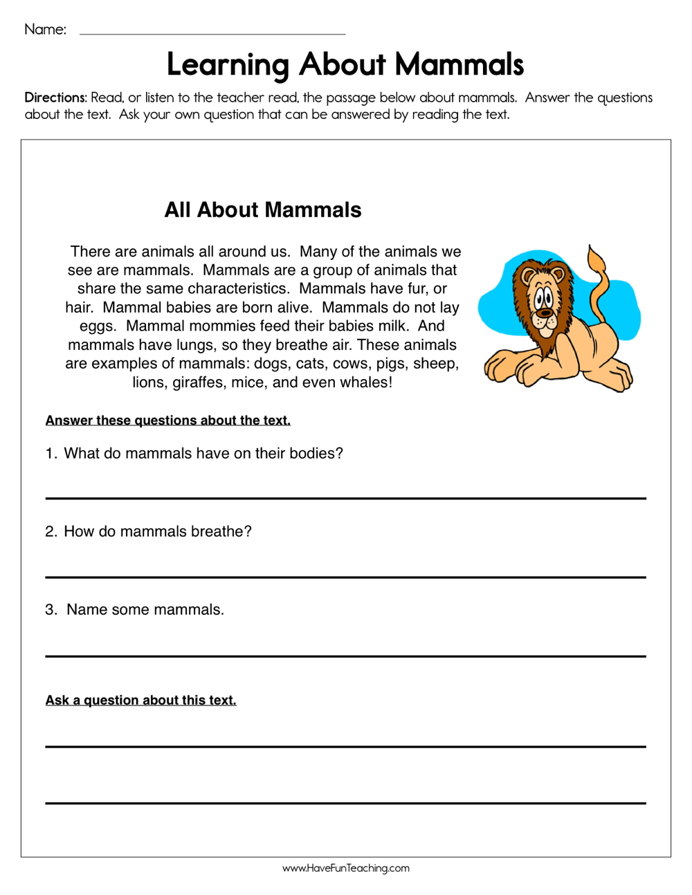 hight resolution of Learning about Mammals Worksheet • Have Fun Teaching