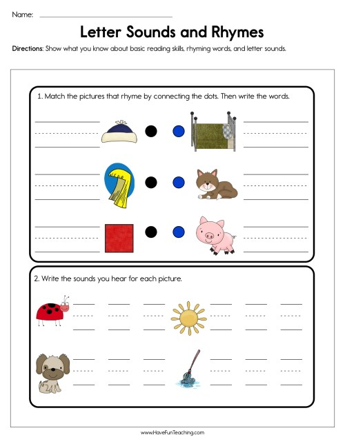 small resolution of Letter Sounds and Rhymes Worksheet • Have Fun Teaching