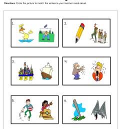 Picture Matching Sentences Worksheet • Have Fun Teaching [ 1294 x 1000 Pixel ]