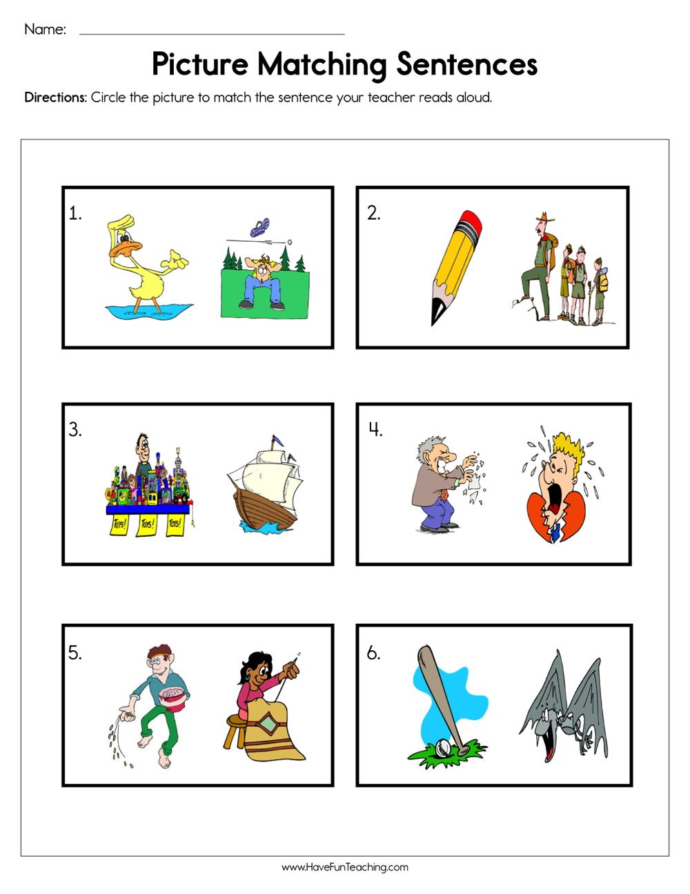 hight resolution of Picture Matching Sentences Worksheet • Have Fun Teaching