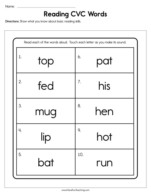 small resolution of 1st Grade Cvc Words Worksheets - BEST RESUME EXAMPLES