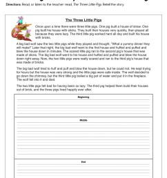 Retelling the Story The Three Little Pigs Worksheet • Have Fun Teaching [ 1294 x 1000 Pixel ]