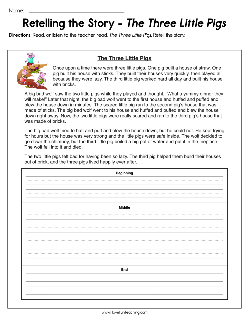 medium resolution of Retelling the Story The Three Little Pigs Worksheet • Have Fun Teaching