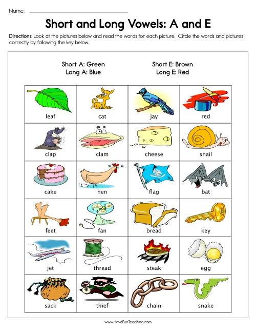 small resolution of Short and Long Vowels A and E Worksheet • Have Fun Teaching