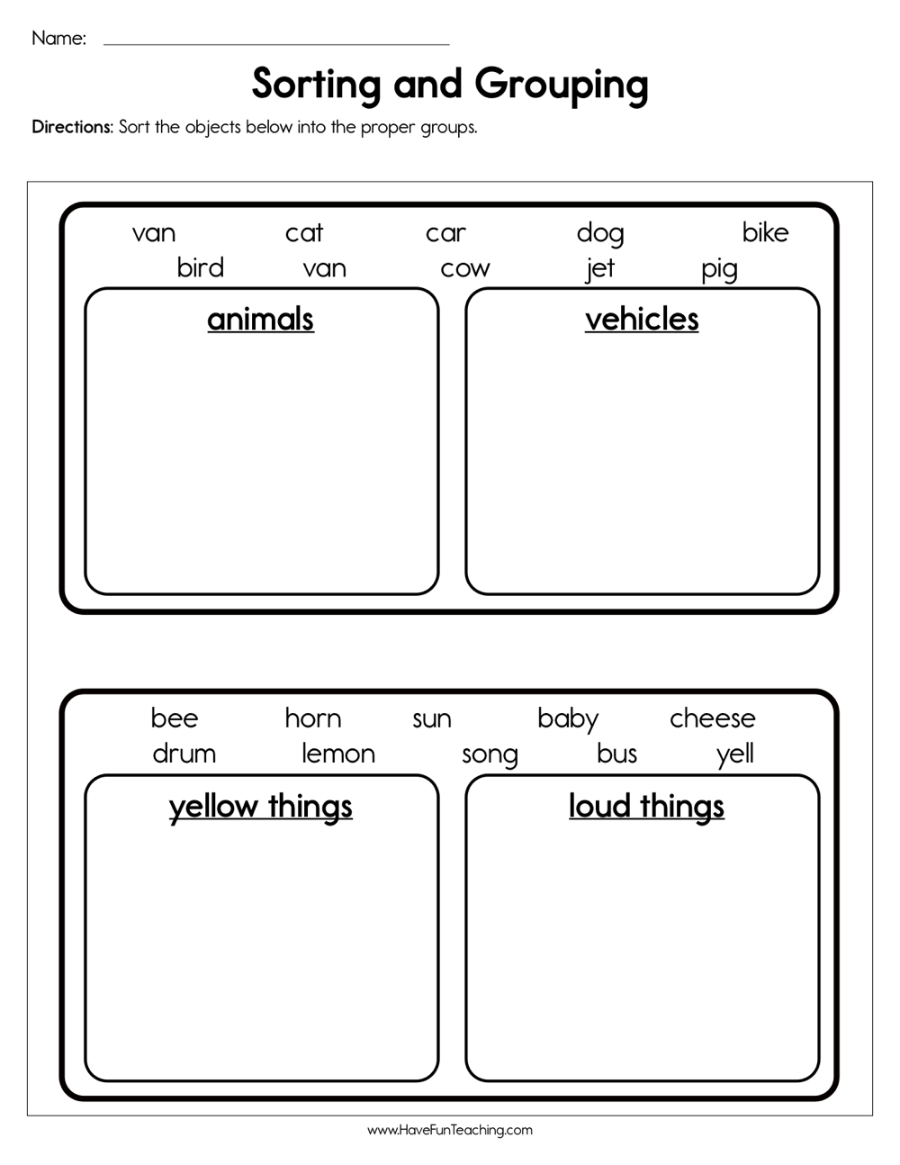 medium resolution of Sorting and Grouping Worksheet • Have Fun Teaching