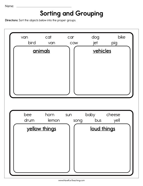 small resolution of Sorting and Grouping Worksheet • Have Fun Teaching