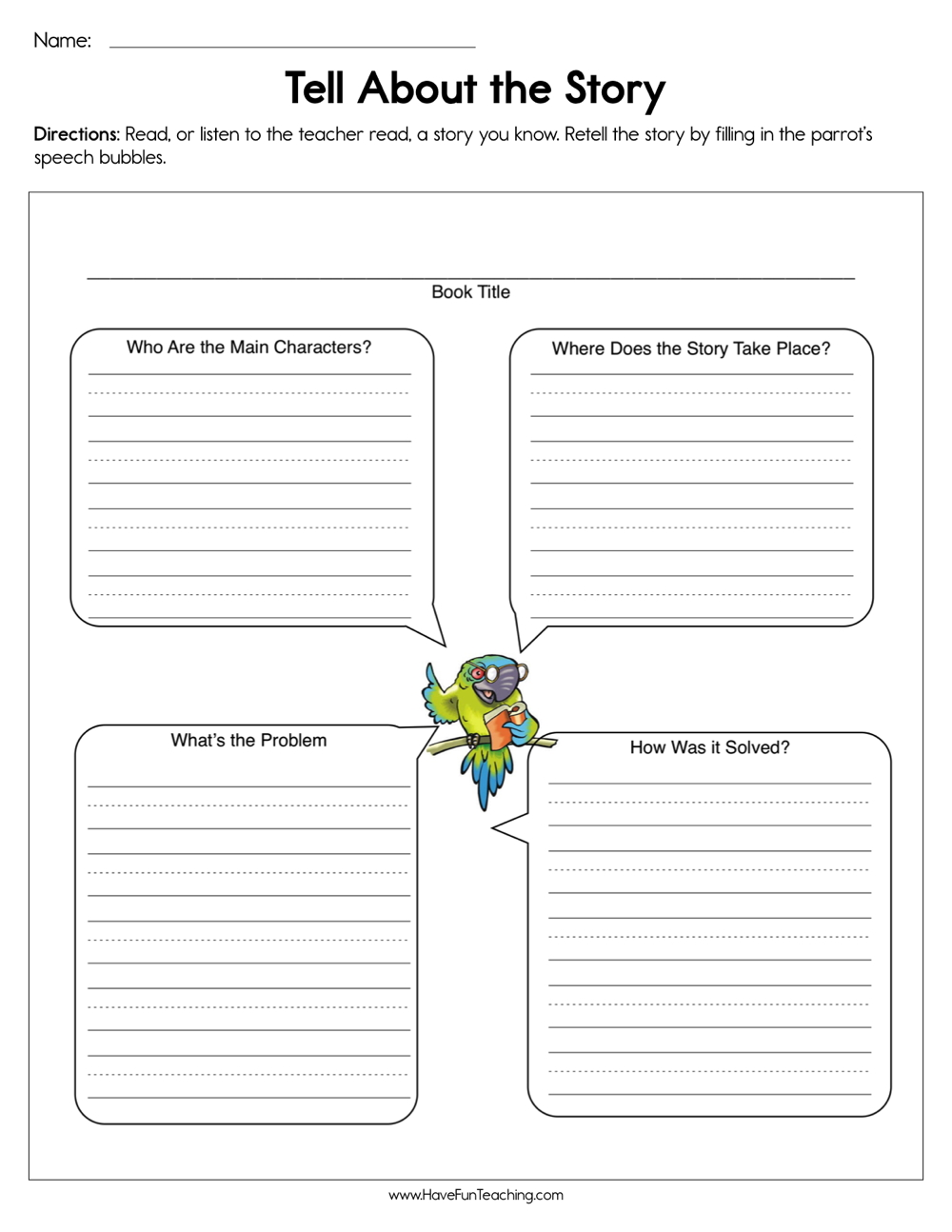 medium resolution of Tell About the Story Worksheet • Have Fun Teaching