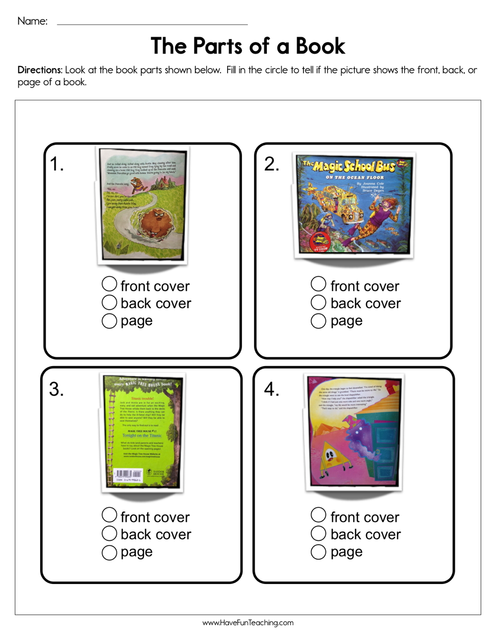 medium resolution of The Parts of a Book Worksheet • Have Fun Teaching