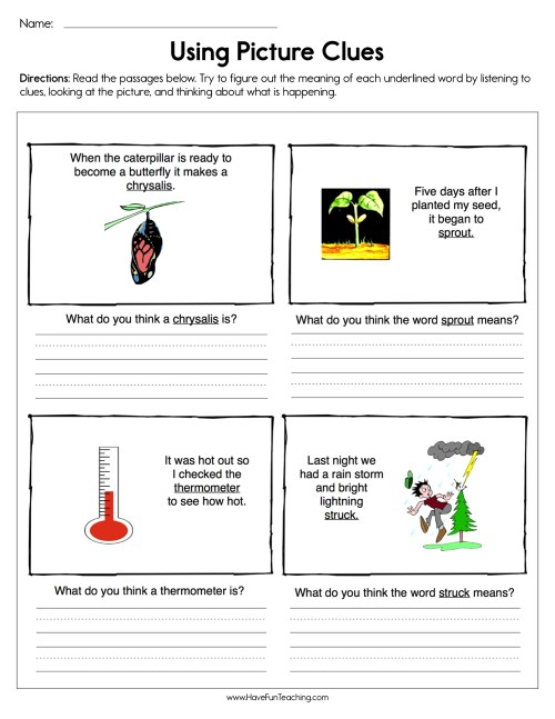 small resolution of Using Picture Clues Worksheet • Have Fun Teaching