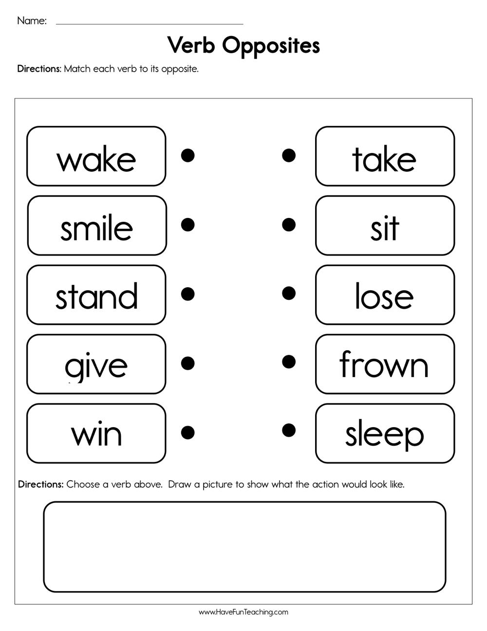 medium resolution of Verb Opposites Worksheet • Have Fun Teaching