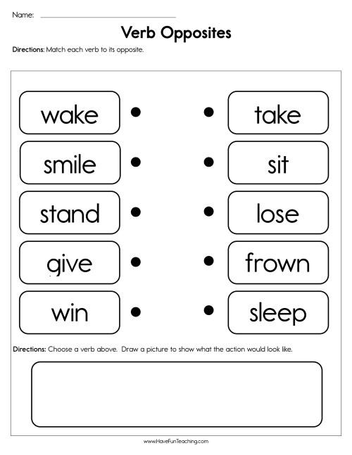 small resolution of Verb Opposites Worksheet • Have Fun Teaching