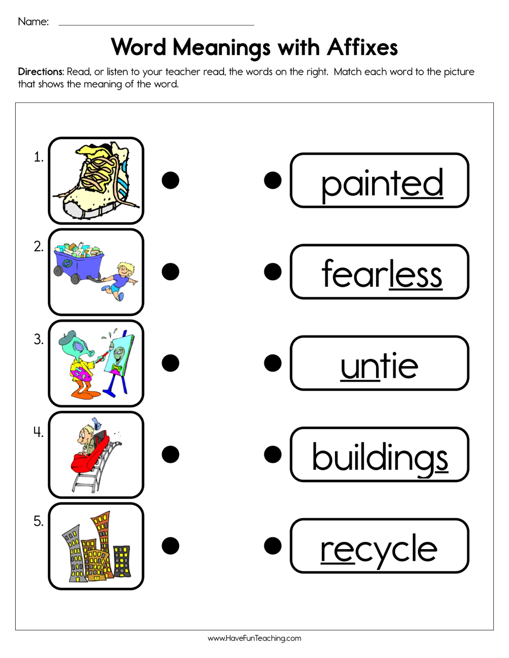 medium resolution of Word Meanings with Affixes Worksheet • Have Fun Teaching