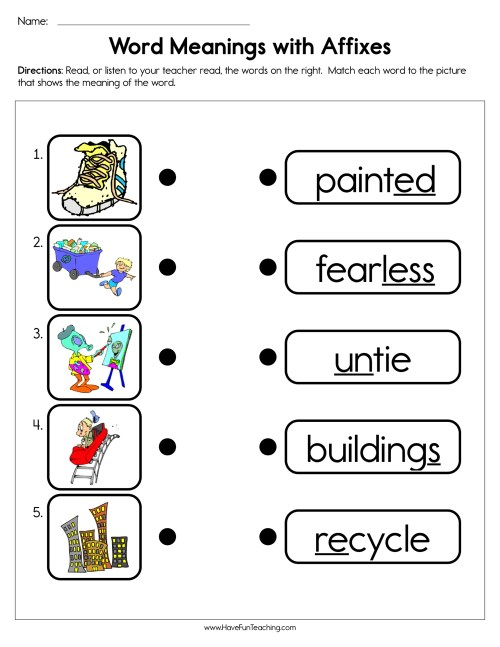 small resolution of Word Meanings with Affixes Worksheet • Have Fun Teaching