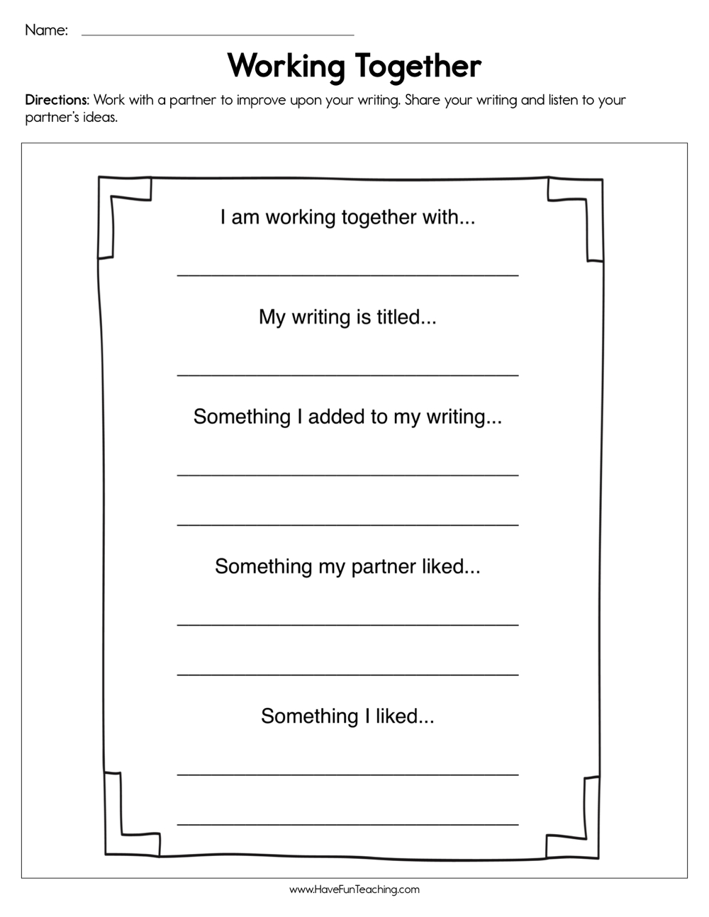 hight resolution of Working Together Worksheet • Have Fun Teaching