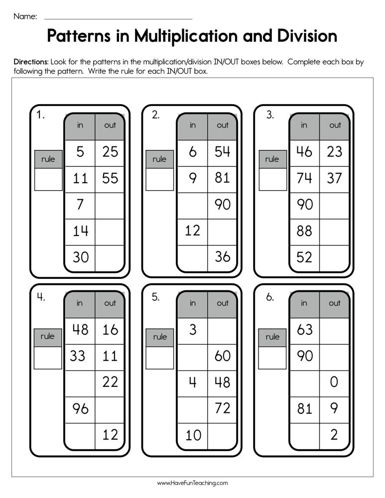 Patterns in Multiplication and Division Worksheet • Have