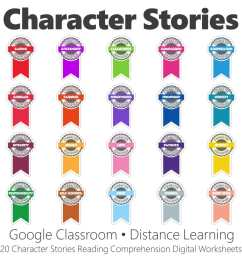 Character Stories Reading Comprehension Digital Worksheet Collection • Have  Fun Teaching [ 1000 x 1000 Pixel ]