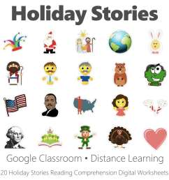 Holiday Stories Reading Comprehension Digital Worksheet Collection • Have  Fun Teaching [ 1000 x 1000 Pixel ]