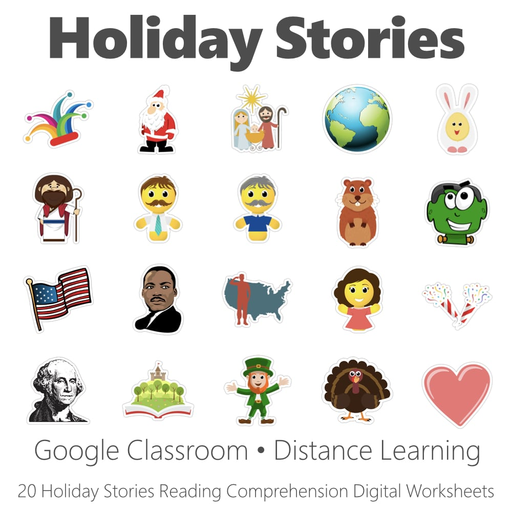 medium resolution of Holiday Stories Reading Comprehension Digital Worksheet Collection • Have  Fun Teaching