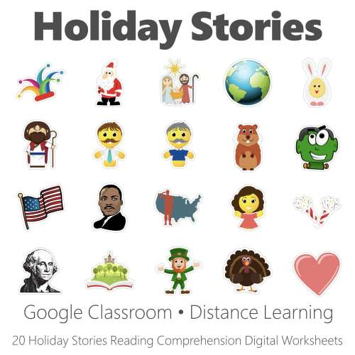 small resolution of Holiday Stories Reading Comprehension Digital Worksheet Collection • Have  Fun Teaching
