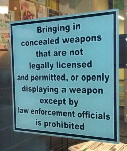 Concealed Carry Sign Pueblo West Library