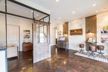 Haven-Design-Works-Atlanta-Front-Door-Shadowbrook-Crossing-Sales-Center-glass-partition