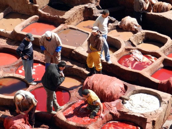 The oldest tannery in Morocco in the medina in Fes. Methods have not changed since medieval times.