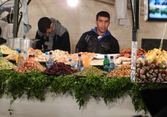 Stall in the night market of Djemaa El Fna.
