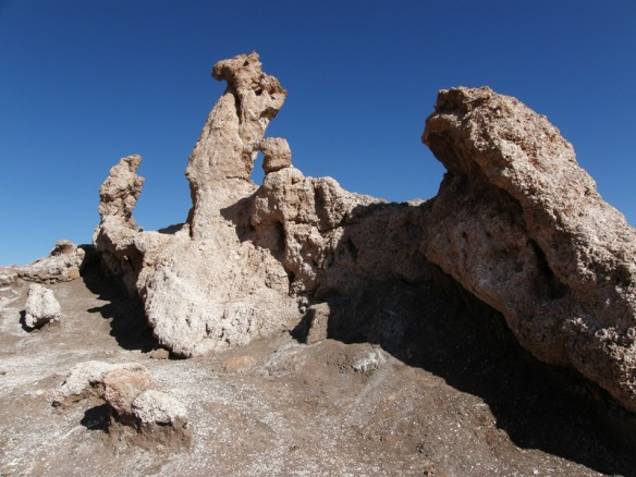The Three Marys rock formation in the Valley of the Moon, Atacama Desert, Chile.