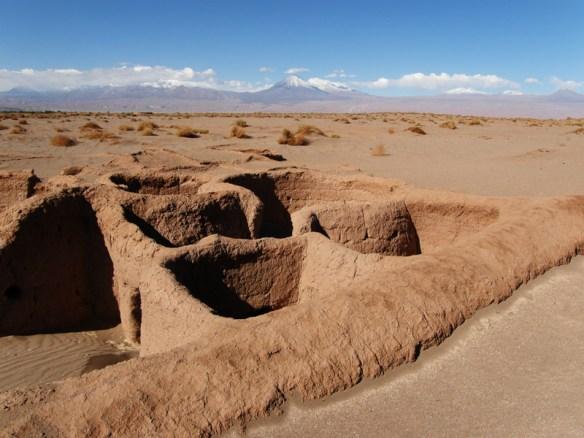 San Pedro de Atacama in Chile. The circular dwellings are made of adobe.