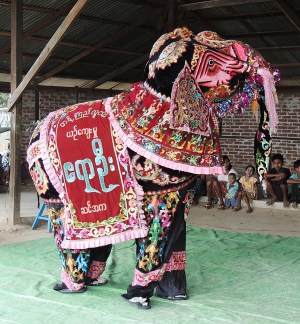 The beautiful elephant, with room for two men inside, used in the Elephant Dance in Tant Kyi Taung.