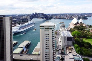 The stunning view of Sydney Harbour Bridge and the Opera House seen from the 31st floor Intercontinental Club lounge.