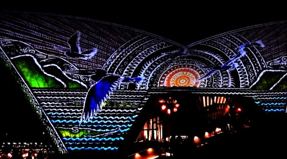 Scene from the spectacular Badu Gili light show projected onto the Bennelong Restaurant sails at the Sydney Opera House. The scenes represent indigenous Australian mythology, flora and fauna.