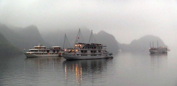 Halong Bay Boats Painted White