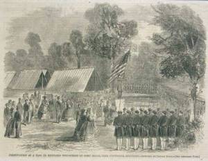 Presentation of a flag to Kentucky volunteers at Camp Bruce, near Cynthiana, Ky.