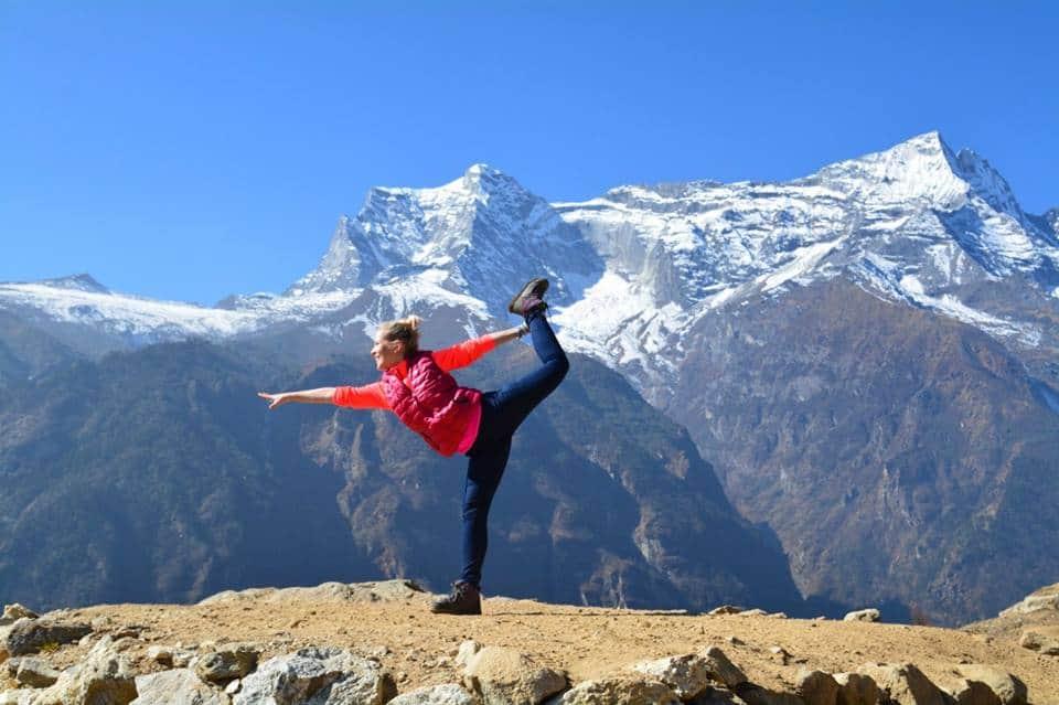 Nepal Mountains Tibet Yoga Girl