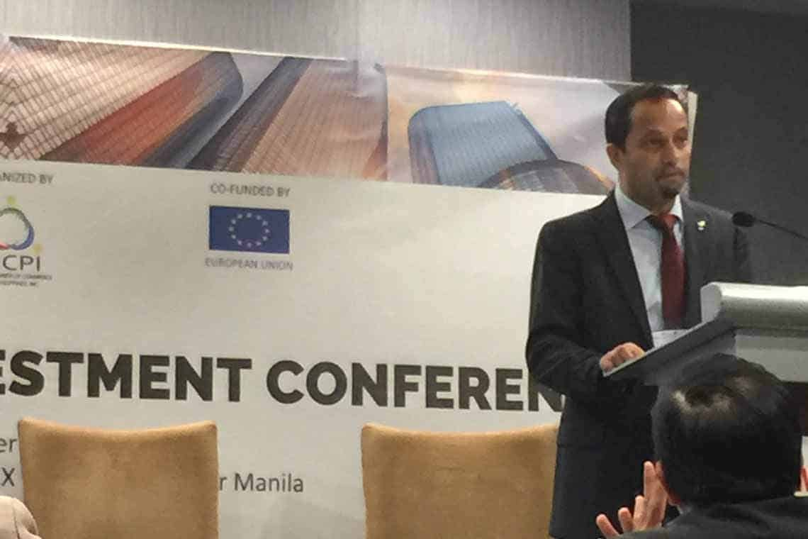 Louis Dey of the EU Delegation to the Philippines opened the conference.