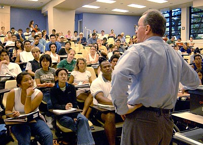 college classroom full of students