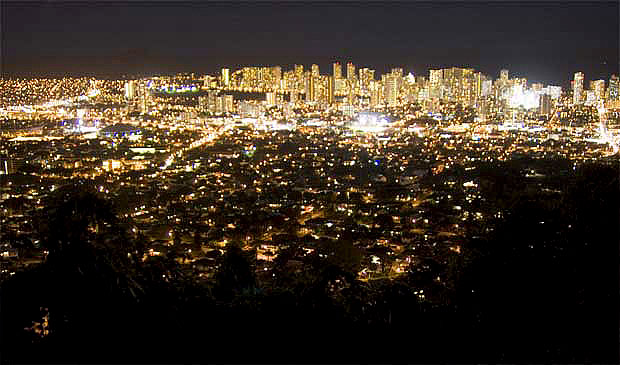 Honolulu skyline at night