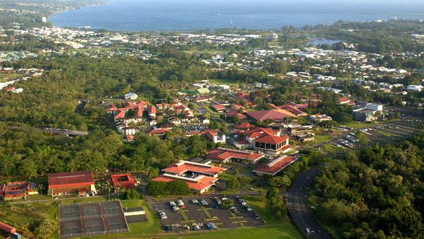 Aerial photo of U H Hilo campus