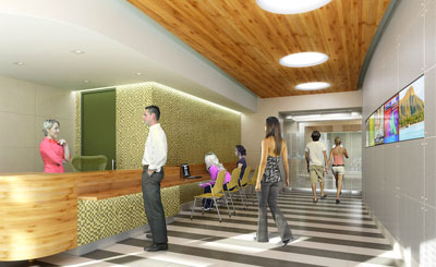 artist drawing of people in hallway by reception desk