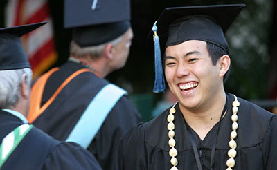 A community college student at commencement